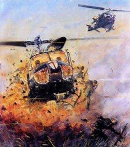 huey helicopter exploding. What is worth dying for?
